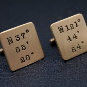 Hand Stamped Latitude Longitude Cuff Links - Bronze Personalized Coordinates Cufflinks