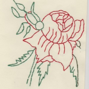 Embroidered Red Rose Blank Greeting Card Set