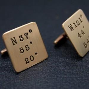 Hand Stamped Latitude Longitude Cuff Links - Bronze Personalized Coordinates Cufflinks