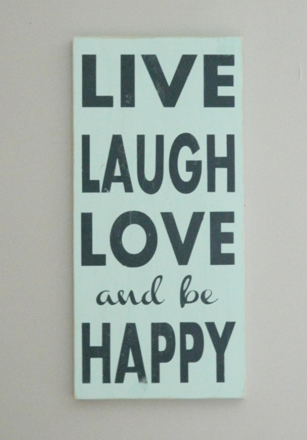 Live, Laugh, Love and be Happy - Distressed Wood Typography Sign - Yellow and Gray - Home Decor Sign - Fixer Upper Sign