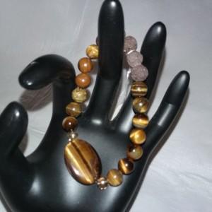 Tiger Eye Gemstones w/Lava Stone Diffuser Bracelet