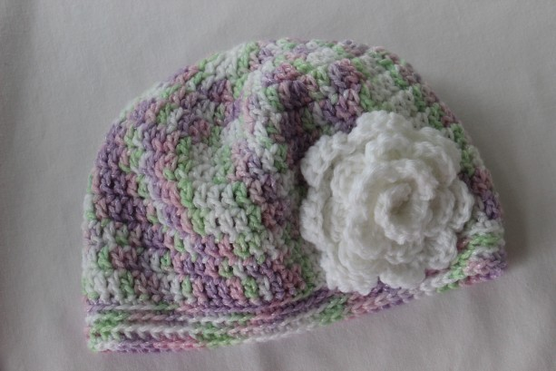 0-3 months Baby Girl Spring Summer Sun hat with rose