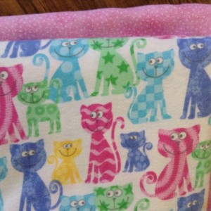 Baby girl  blanket baby shower gift pink cat nursery double flannel swaddle custom satin binding burp set embroidered