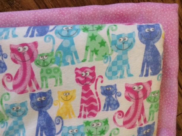 Baby girl  blanket baby shower gift pink cat nursery double flannel swaddle custom satin binding burp set embroidered