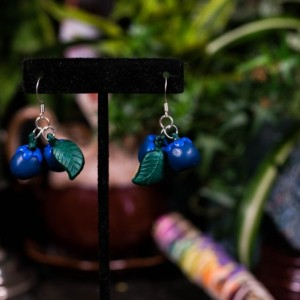 Polymer clay Blueberry earrings
