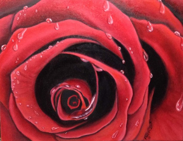 The Rose - oil painting with rain drops/ 14x18