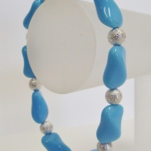 Light Blue Twisted Rectangle Glass Bead and Silver Round Sparkle Beads Elastic Bracelet