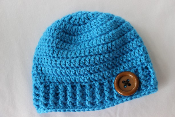 0-3 month Boys Bright Blue Hat with Button