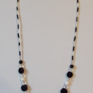 Black , White and Clear Beaded Necklace