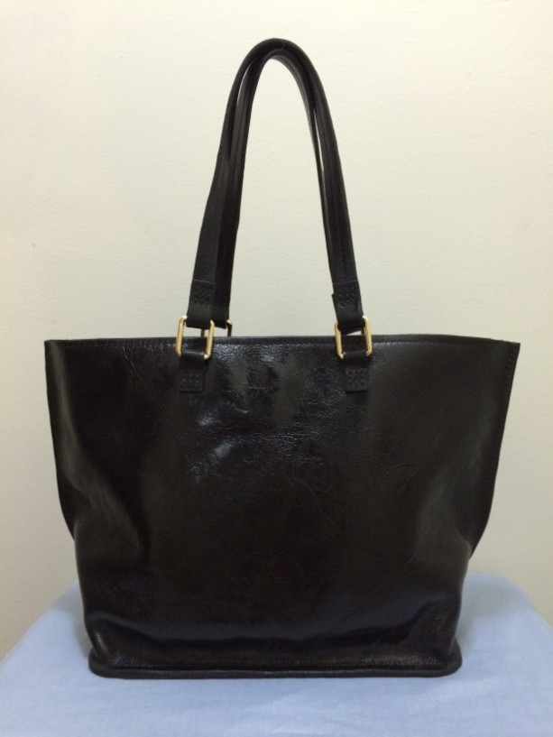 Rodeo Leather Tote Bag in Black - 100% Authentic Leather - HANDMADE IN USA