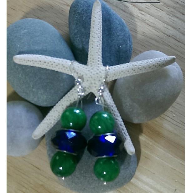 Green Lampwork Beaded Earrings