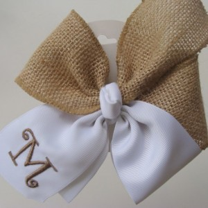 Monogrammed Burlap Hair Bow Initial Custom Boutique Personalized Gift Letter Rustic khaki hairbow Girls Monogram Barn Wedding Flower Girl