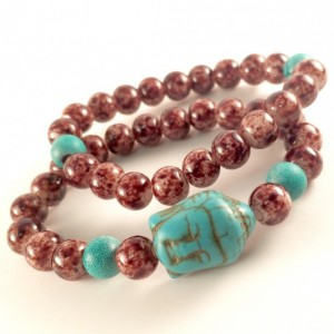 Turquoise & brown Buddha bracelets