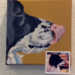 "Tommy Big Lick - Custom Pet Portrait 8"" x 8"" x 1.5"""
