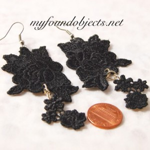Lace Flower Statement Earrings, Black/Silver