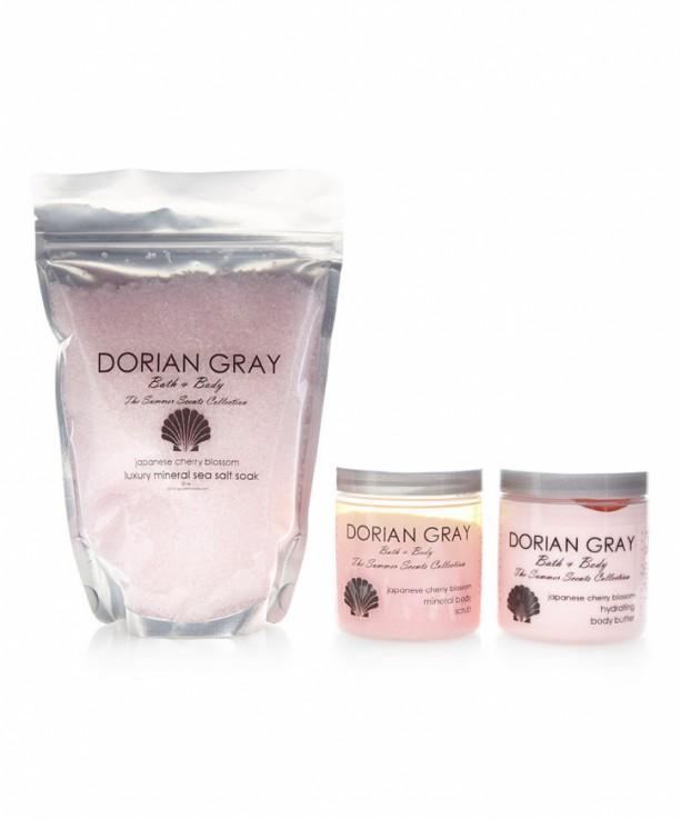 Three Piece Gift Set: Fragrant Moist Mineral Body Scrub, Hydrating Body Butter and Luxury Bath Soak