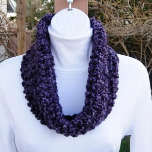 Small Purple COWL SCARF Dark Purple Black, Summer Spring Infinity Loop Handmade Crochet Knit Soft Lightweight Neck Warmer..Ready to Ship in 2 Days