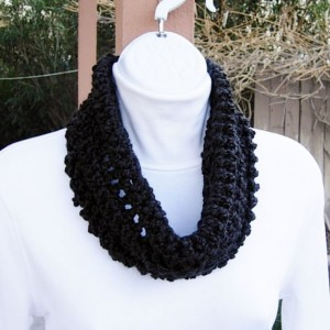 SUMMER COWL SCARF Solid Black, Small Short Infinity Loop, Handmade Crochet Knit Soft Lightweight Spring Neck Warmer..Ready to Ship in 2 Days