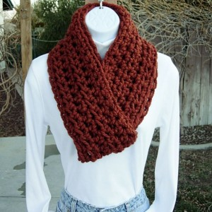 COWL SCARF Infinity Loop Dark Burnt Orange Rust Spice, Soft Wool Blend Bulky Crochet Knit Winter Wrap, Neck Warmer..Ready to Ship in 2 Days
