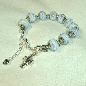 One Decade European Style Rosary Bracelet, Pink Blue Beads