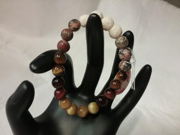 Honey, Red & Brown Tiger Eye w/Picasso Jasper Gemstones w/Lava Stone Diffuser Bracelet