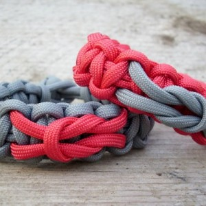 Couples Paracord Bracelet with Love Knot or Square Knot