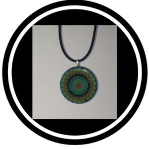 Green Necklace - Handcrafted green and orange flower design pendant bead necklace