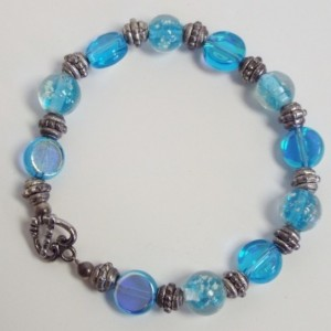Blue Flat Coin, Blue Speckled Round Glass, and Metal Fancy Spacer Beaded Bracelet