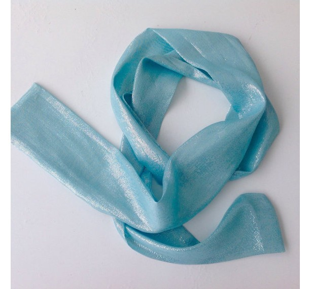 Light Blue Silk long scarf with iridescent shine