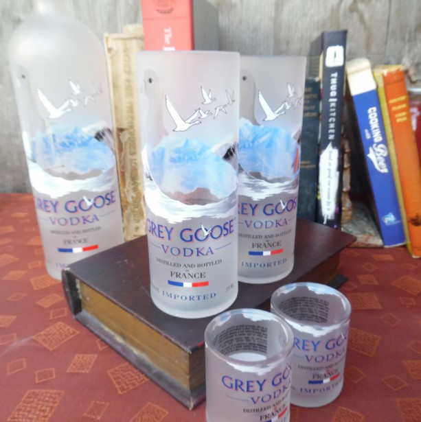 Grey Goose Bottle Upcycled set of four! 2- 375 & 2 shotglasses