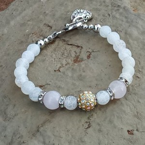 Rose Quartz Pave Crystal Bracelet With Matte White Agate Stones & Heart Cham Toggle, Ladies Positive Energy Healing Chakra Jewelry