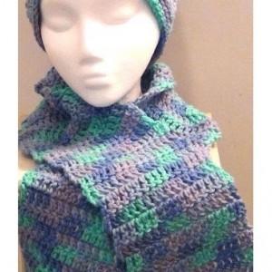 Crocheted Winter Scarf -  Blue Aqua Purple Ocean