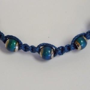 Blue Macrame and Mood Bead Bracelet