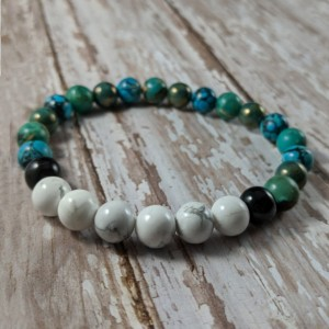 The Lennox | handmade beaded stretch bracelet, howlite, jasper, turquoise, Czech glass, black striped agate, men's / unisex, Gifts for Him