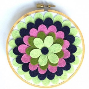 Felt Hoop Art, Flower Decor, Flower Hoop Art, Wool Felt Decor, Blue Green Pink Flower, Gift for Nursery, Nursery Decor, Hippie Flower Art