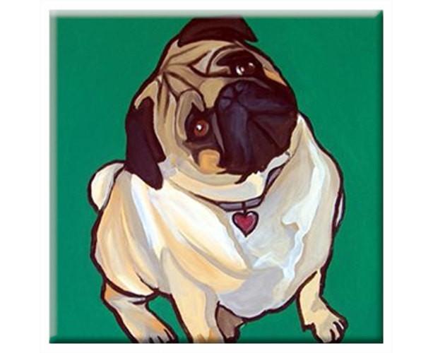 DOG TILE - Green PUG - Signed By Artist A.V.Apostle