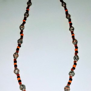 """Black, White, and Orange All Over"" Paper Bead Necklace"