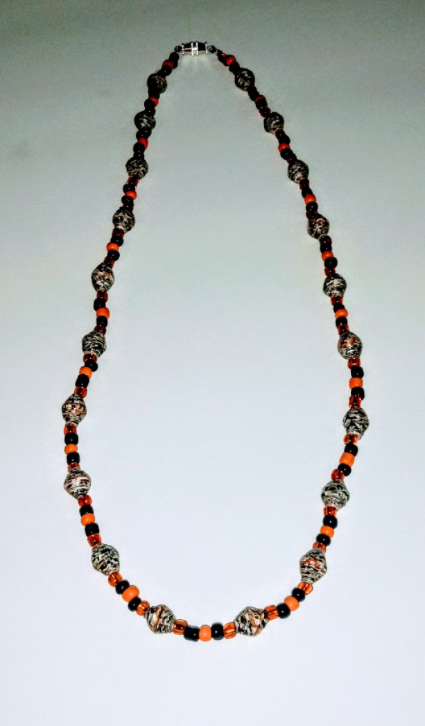 """""""Black, White, and Orange All Over"""" Paper Bead Necklace"""