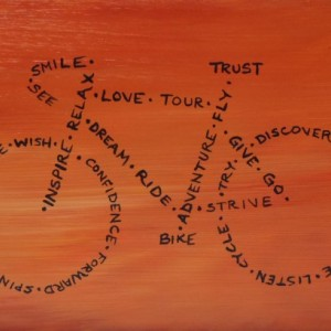 """See, Smile, Trust, Bike"" original painting"