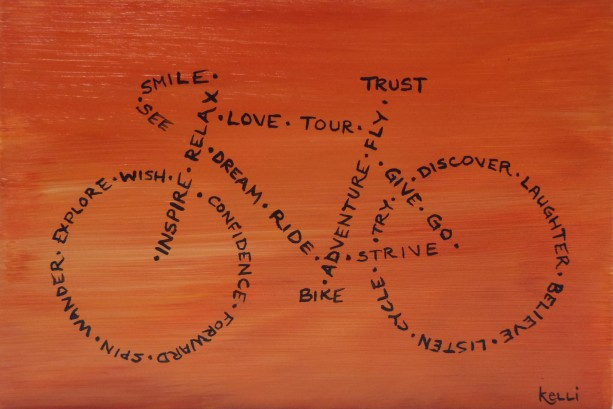 """See, Smile, Trust, Bike"" original painting"