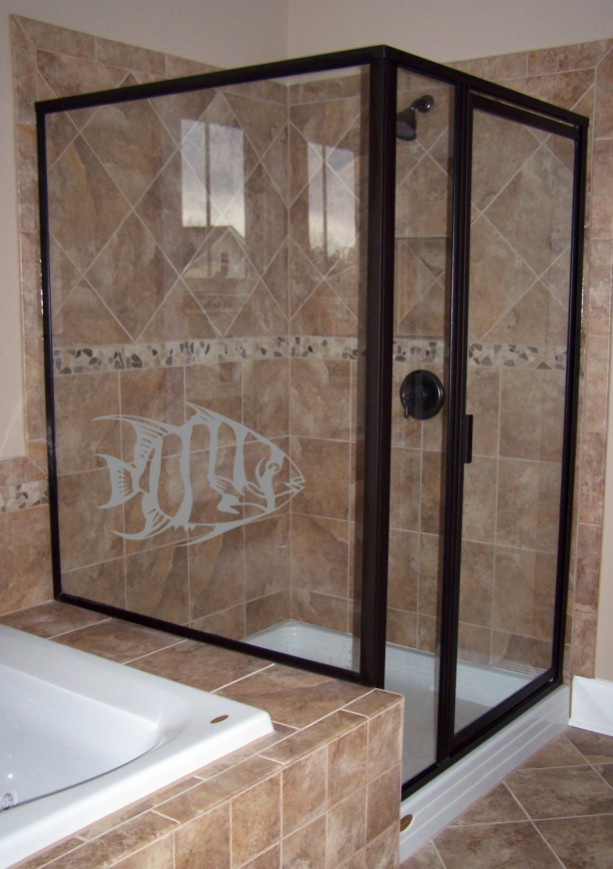 Tropical Fish Design Two Etched Decal Shower Doo Aftcra