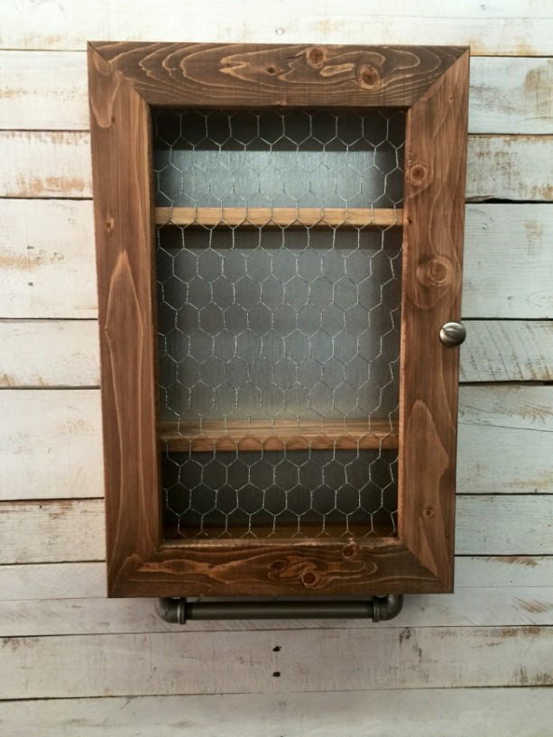 Farmhouse Cabinet Hanging Cabinet Chicken Wire Cabinet