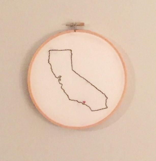 Custom California Embroidery Hoop Art Wall Hanging Aftcra