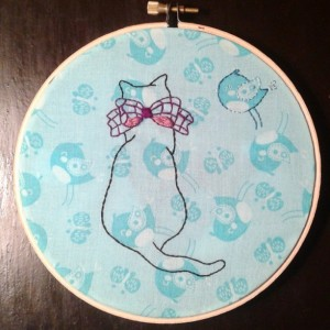 Birdwatching Cat Hand Embroidery Hoop- Wall Art (6 inch)