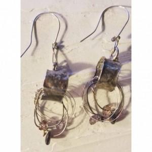 Sterling Silver Amethyst Garnet Andalusite earrings
