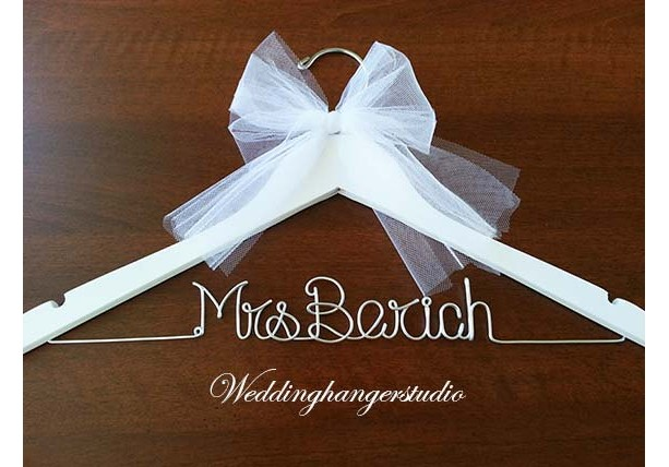 White wedding dress hanger name hanger mrs hanger for Mrs hangers wedding dress