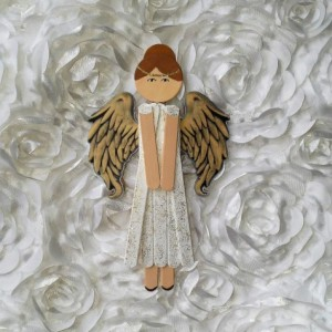 Wooden Angel Art / Sparkling White with Gold Wings / Wooden Hanging Angel Decoration / Personalized Angel Art