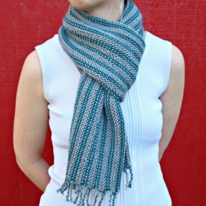 Turquoise & Gray Fringed Striped Scarf
