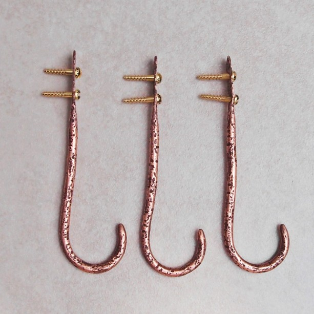 Copper Wall Hooks Stone Textured Aftcra