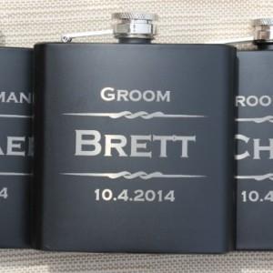 Engraved 8 oz. Black Drinking Flask